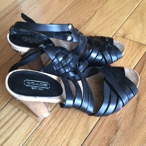 Coach Black Strappy Sandals with Heels Size 7